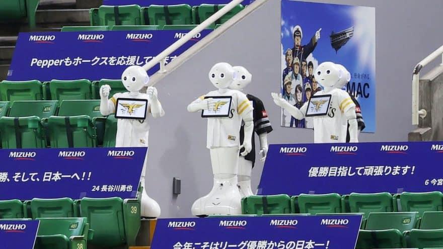 Roboter als Zuschauer auf einem Baseballspiel